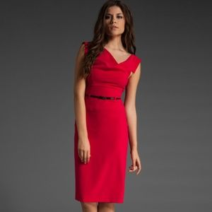 Black Halo Classic Belt Jackie O Sheath Dress Red